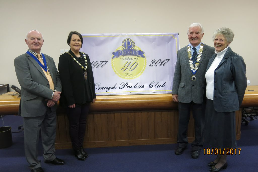 [L - R] Paddy McGowan, Probus Vice-President, Mrs Mary McGarrity, Chairperson, FODC, John McCAndless, President Omagh Probus Club and Mrs Val Burch, Vice-President Omagh and District Ladies Probus Club, at the unveiling of the banner to mark the 40th Anniversary of Omagh Probus Club
